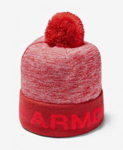 Čepice Under Armour Boy'S Gametime Pom Beanie-Red Růžová