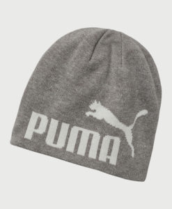 Čepice Puma Ess Big Cat Beanie Light Gray Heather-White Šedá