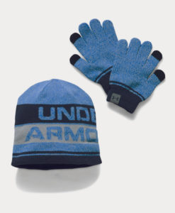 Čepice a rukavice Under Armour Boys Beanie Glove Combo 2.0 Modrá