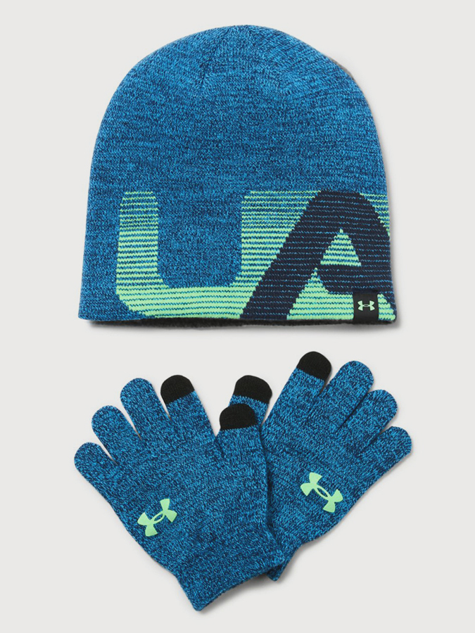 Čepice a rukavice Under Armour Boy's Beanie/Glove Combo Modrá