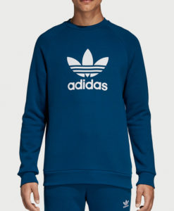 Mikina adidas Originals Trefoil Crew Modrá